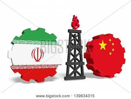 image relative to gas transit from iran to china. 3D rendering