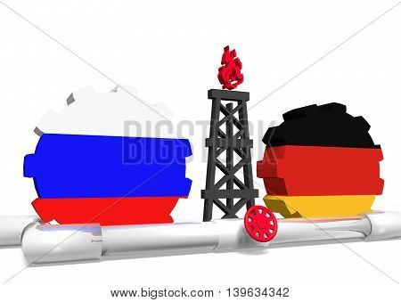 image relative to gas transit from russia to germany. 3D rendering