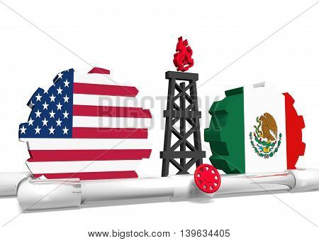image relative to gas transit from usa to mexico. 3D rendering