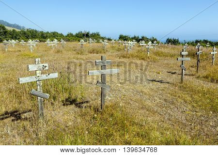 Old Crosses At The Historic Orthodox Cemetery Of Fort Ross