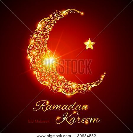 Glowing ornate crescent with bright flare and star in red shades. Greeting card of holy Muslim month Ramadan