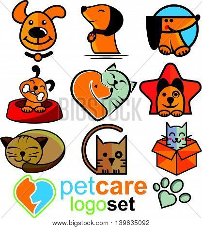 pet care logo set concept designed in a simple way so it can be use for multiple proposes like logo ,mark ,symbol or icon.