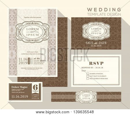 vintage design wedding invitation set Template Vector place card response card save the date card