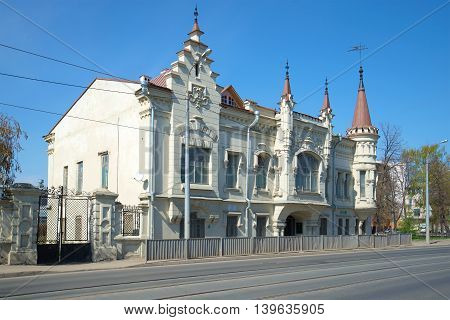 KAZAN, RUSSIA - MAY 02, 2016: The old Shamil's house, sunny may day. Historical landmark of the city Kazan, Tatarstan