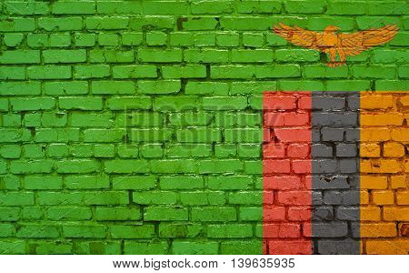Flag of Zambia painted on brick wall background texture