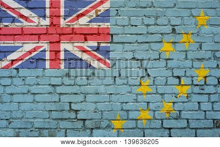 Flag of Tuvalu painted on brick wall background texture