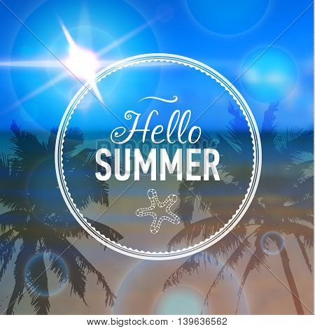 Summer card with sea background and designed text. Vector illustration.