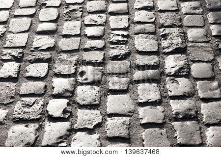 pattern of old cobble stone street In Frankfurt