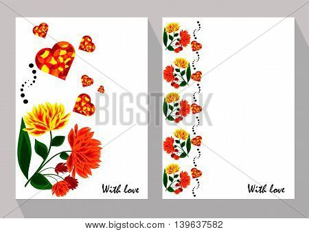 Greeting cards with abstract orange flowers in ethnic style for declarations of love a gift for a loved one or a donation for the holiday or other