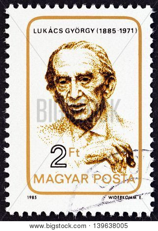 HUNGARY - CIRCA 1985: A stamp printed in Hungary issued for the birth centenary of Gyorgy Lukacs shows philosopher Gyorgy Lukacs, circa 1985.