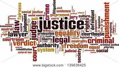 Justice word cloud concept. Vector illustration on white