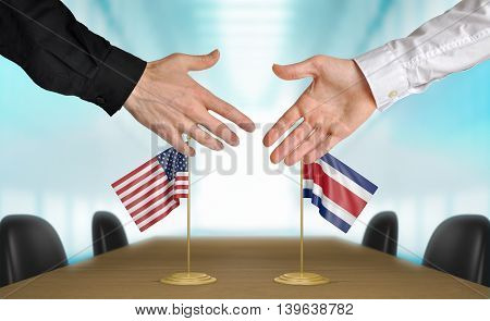United States and Costa Rica diplomats shaking hands to agree deal, part 3D rendering