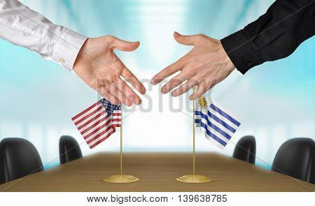 United States and Uruguay diplomats shaking hands to agree deal, part 3D rendering