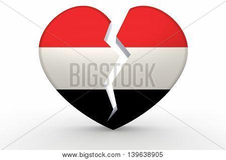 Broken White Heart Shape With Yemen Flag