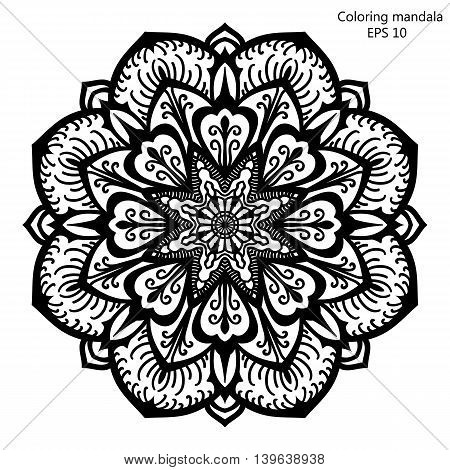 Coloring book for adult and older children. Coloring page with mandala made of decorative vintage flowers and decorative butterflies. Outline hand drawn. Vector illustration.
