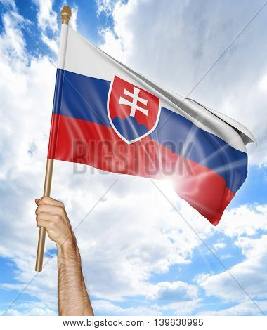 Person's hand holding the Slovakian national flag and waving it in the sky, 3D rendering