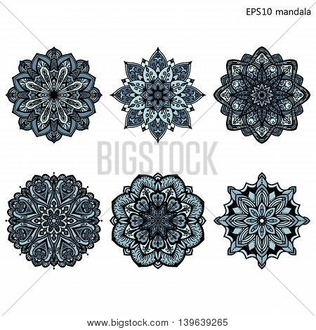 Vector mandalas. Colored mandala set. Oriental round ornament. asian design element