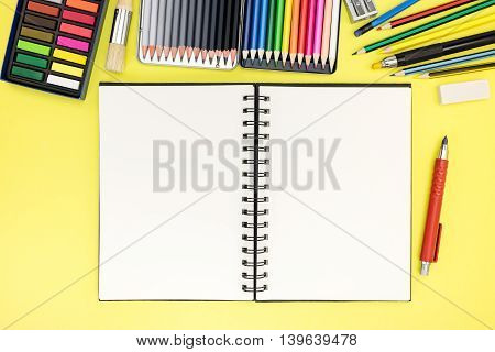Student Desk Background With Notepad And Stationary For Writing And Drawing