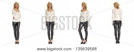 Images Of An Amazing Girl In Black Leather Pants On A White