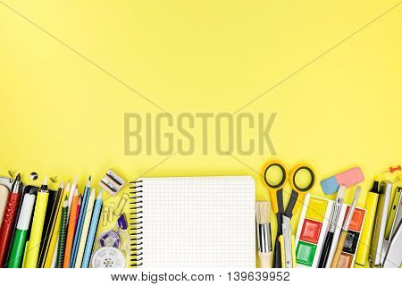 Student Workplace With Notebook And Other School And Office Colorful Stationary