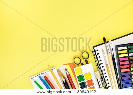 Different Stationary Necessary For Studies On Yellow Background