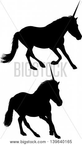illustration with two unicorn silhouettes isolated on white background