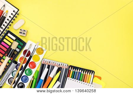 Writing Desk With Colorful Stationary And Office Supplies For Education Process
