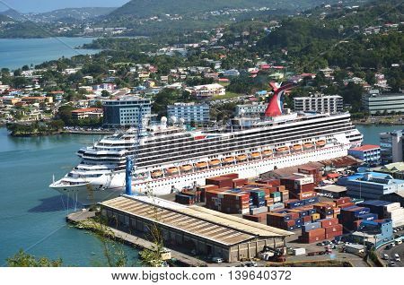 CASTRIES ST LUCIA CARIBBEAN 19 January 2015: Large Cruise Ship in Capital of St Lucia