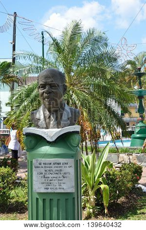 CASTRIES ST LUCIA CARIBBEAN 19 January 2015: Bust of Arthur Lewis winner of nobel prize for literature