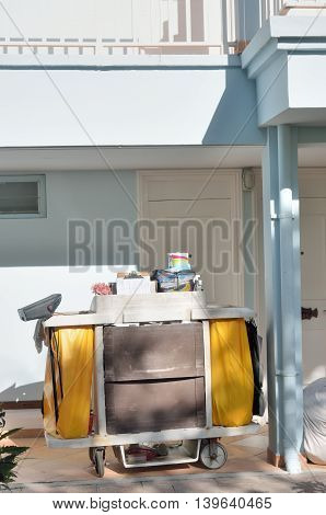 ST LUCIA CARIBBEAN 29 January 2015: cleaning maid's trolley