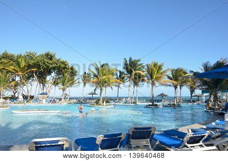 ST LUCIA CARIBBEAN 29 January 2015: Holiday hotel with pool in caribbean
