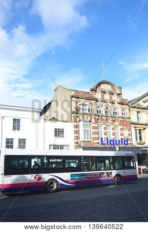 COLCHESTER ESSEX ENGLAND 8 March 2015: Colchester Hippodrome nightclub with bus in foreground