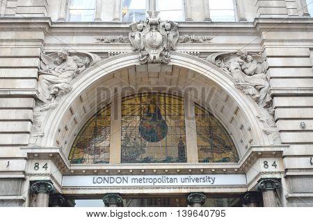 LONDON ENGLAND 22 February 2015: Front of London Metropolitan University