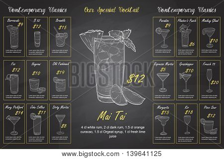 Back Drawing horisontal cocktail menu design on blackboard background BW