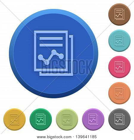 Set of round color embossed report buttons