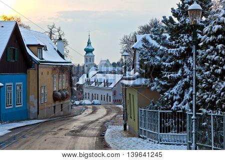 Village Of Grinzing In Early Morning Light In Wintertime
