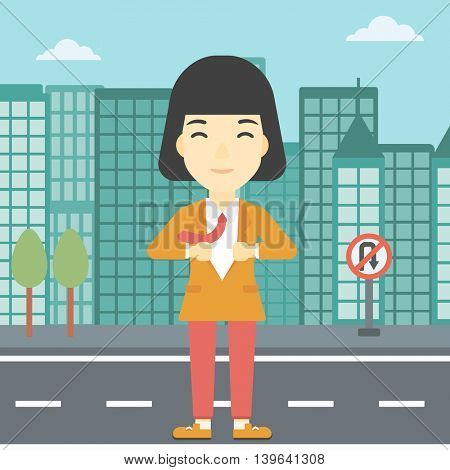 An asian young business woman opening her jacket like superhero on the background of modern city. Business woman superhero. Vector flat design illustration. Square layout.