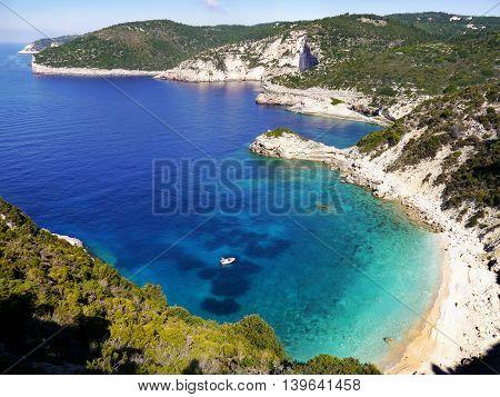 Sea azure beautiful bay in Greece island Paxos