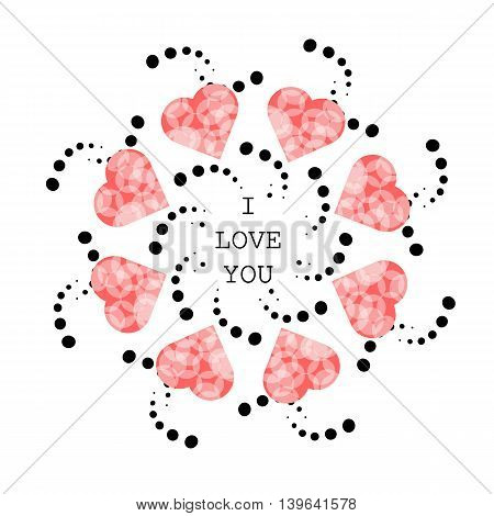 Pattern with abstract pink hearts in ethnic style for drawing on greeting card wedding on cookware or vase holiday or other