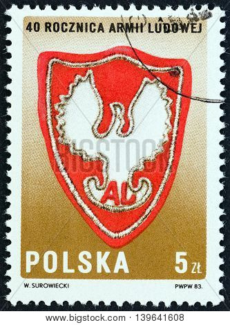 POLAND - CIRCA 1983: A stamp printed in Poland issued for the 40th anniversary of People Army shows Badge of General Bem Brigade, circa 1983.