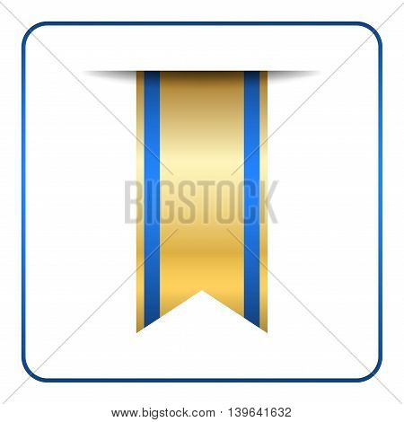 Blue and gold bookmark banner. Vertical book mark isolated on white background. Color tag label. Flag symbol sign. Design element blank. Empty sticker for sale. Template icon. Vector illustration