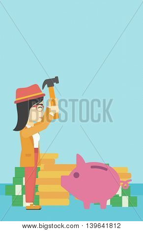 An asian young business woman breaking piggy bank on a blue background with stacks of coins. Concept of business bankruptcy. Vector flat design illustration. Vertical layout.
