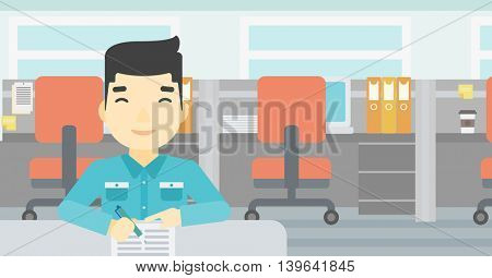 An asian young businessman signing business documents in office. Man is about to sign a business agrement. Confirmation of business transaction. Vector flat design illustration. Horizontal layout.