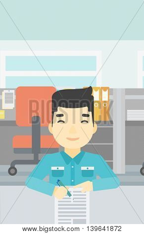 An asian young businessman signing business documents in office. Man is about to sign a business agrement. Confirmation of business transaction. Vector flat design illustration. Vertical layout.
