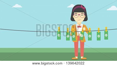 An asian young business woman drying banknotes on the clothesline on the background of blue sky. Woman loundering money. Vector flat design illustration. Horizontal layout.