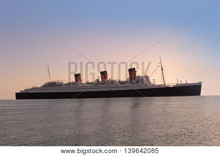 Big american ship, sailing during sunset. Pacific ocean