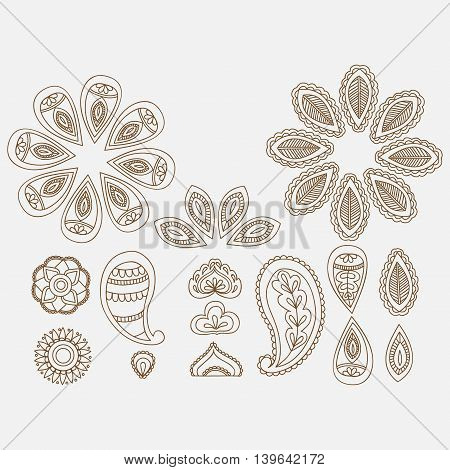 Henna tattoo floral doodle design elements, indian line art mehndi on white background.