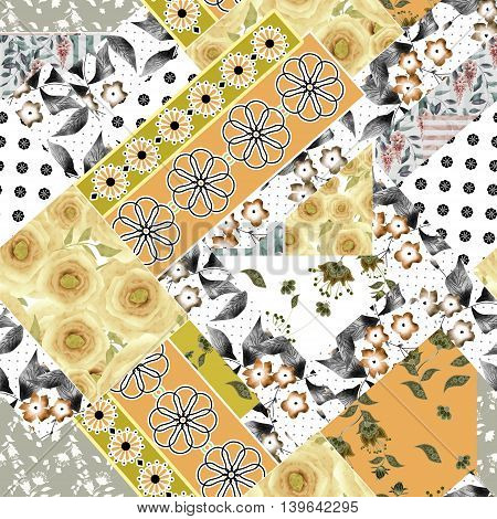Seamless patchwork design floral pattern with yellow roses and flowers print