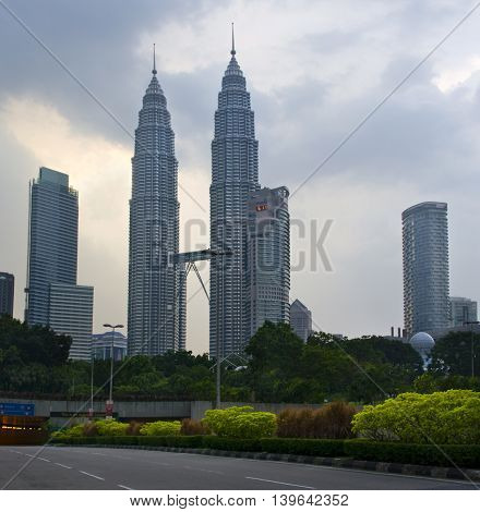 Evening View Of The Petronas Twin Towers
