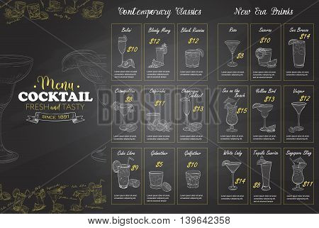 Front Drawing horisontal cocktail menu design on blackboard background BW